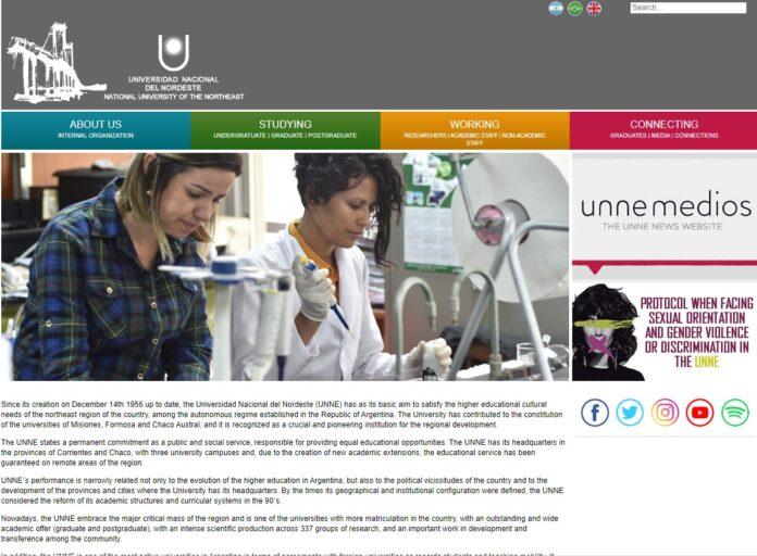 El sitio web de la UNNE fue traducido al inglés.